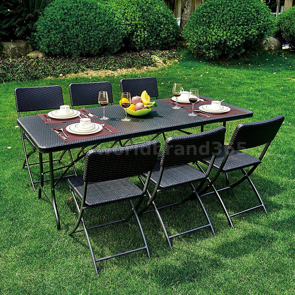 7 piece patio garden lawn furniture dining table chair for Lawn and garden furniture